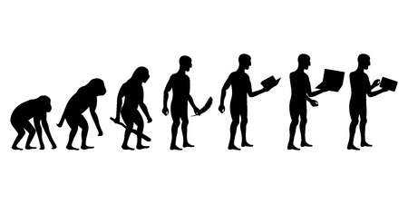 46452354 - evolution of man and technology silhouettes